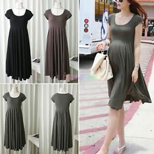 New Summer Pregnant Women Maternity Short Sleeve Loose Cotton Blend Casual Dress