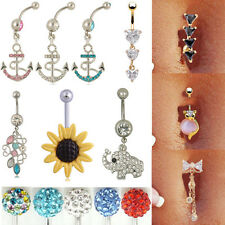 Dangle Rhinestone Button Barbell Belly Navel Ring Bar Body Piercing  Wholesale