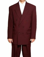 New Men's Double Breasted Maroon Dress Suit All Sizes