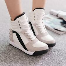 New Womens High Top Rivet Casual Trainers Hidden Wedge Heel Sneakers Shoes Size