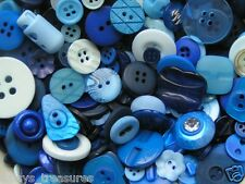 Buttons Blue mix Blues colours 50g 100g 250g mixed button sizes shades new