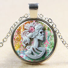 Zombie Day Of The Dead Necklace Skull Skeleton Lady Glass Photo Art Pendant