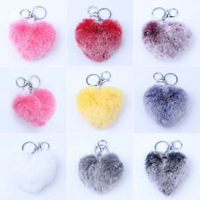 Deluxe Rex Rabbit Fur Heart PomPom Car Keychain Handbag Charms Silver Key Ring