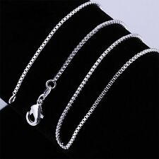 "1mm/2mm 1x16-24"" Box Silver-Plated Lady Girl Curb Necklace Chain Neck Chain"