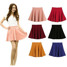 2017 New Women's Candy Color Casual Sexy A-line Flared Mini Circle Short Skirts