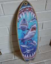 GREAT WHITE SHARK TEETH BITE SURFBOARD SIGN Beach Surfing Surfer Home Decor NEW