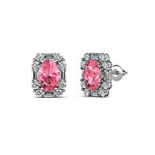 Oval Pink Tourmaline and Diamond Halo Stud Earrings 5.75 ct tw in 14K Gold