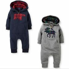 100% Cotton Kids Baby Boy Warm Infant Romper Jumpsuit Bodysuit Hooded Clothes