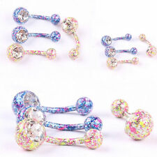 316 Surgical Steel Mix Color Navel Belly Rings Crystal Body Piercing Jewelry 1pc