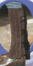 half chaps suede leather for riding black or brown, Large or small, velcro tabs