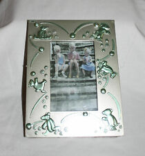 """Baby Photo Frame  Silver Tone Plastic Frame  5""""x 7"""" Green Bear or Pink Lamb"""