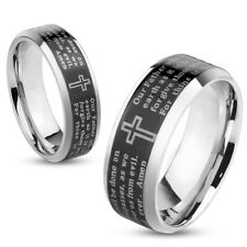 Stainless Steel Laser Etched Black Lord's Prayer Wedding Band Ring Size 5-13