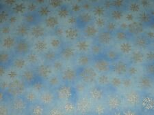 Holiday Accents Light Blue Silver Metallic Little Snowflake Christmas Fabric BTY