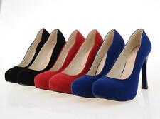 New Ladies' Fashion Shoes Faux Suede High Heels Platform Women's Pumps US Size