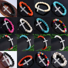 Synthetic Howlite Turquoise Gemstone Round Skull Crystal Cross Elastic Bracelet