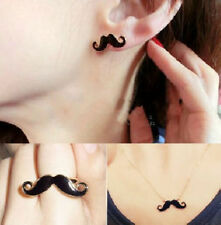 Fashion Moustache Handlebar Mustache Necklace Double Ring Earrings Set