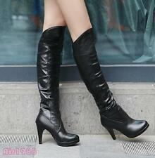 New Women's Shoes Synthetic Leather Platform High Heels Knee Boots US All Size