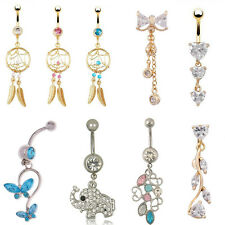Woman Navel Belly Ring  Crystal Button Dangle Barbell Bar Body Piercing Jewelry