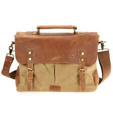 2015 Mens Canvas Leather Messenger Bags 14 In Laptop Briefcase Shoulder Bookbag