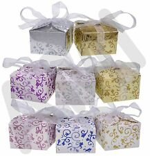 SPARKLY GLITTER WEDDING PARTY FAVOUR CANDY SWEETS GIFT BOXES SILVER BLUE GOLD