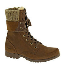 New Womens CAT Caterpillar Alexi Brown Leather Army Military Boots Size 3-8