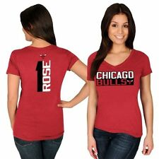 Women's Majestic Derrick Rose Red Chicago Bulls Name & Number V-Neck T-Shirt