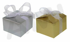 GOLD OR SILVER WEDDING PARTY CANDY SWEETS FAVOUR GIFT BOXES WITH RIBBONS