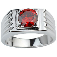 Round Garnet Red CZ Heavy .925 Sterling Silver Men Ring Size 10 to 13