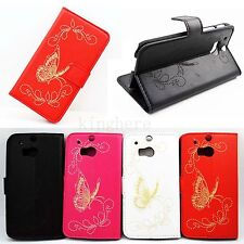 New Luxury Butterfly Skin Wallet Card Leather Phone Flip Cover Case For HTC