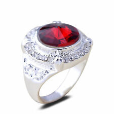 Women Fashion 18K White Gold Plated Round Red Crystal Finger Ring CZ Rhinestone