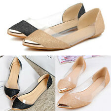 Hot  Womens Glitter Sparkle Loafers Transparent Low Heel Pointed Toe Flat Shoes