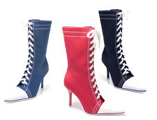 ELLIE 457-TAYLOR Women's Pointy Toe Stiletto Heel Sneaker Lace Up Mid Calf Boots