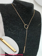 Personalized Custom Initial Engraving Ring Infinity Lariat Gold Plated Necklace