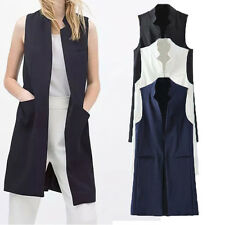Fashion Women Stand Collar Sleeveless Solid Blazer Waistcoat Coat Jacket Suit