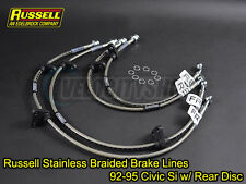 Russell Stainless Steel Braided Brake Lines 92-95 Civic Si w/ Rear Disc Brakes