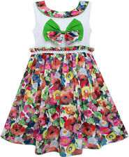 Girls Dress Bow Tie Blooming Flower Detailing Collar Green Size 4-10