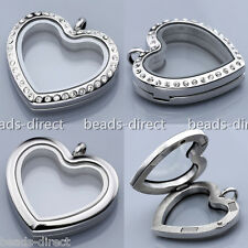 Heart Floating Memory Living Glass Locket Pendant Fit Floating Charms DIY GIFT