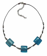 Glass + silver bead necklace various colours murano collier verre Glas Halskette