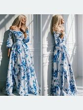 Vintage Women Boho Floral Print Long Sleeve Party Cocktail Evening Maxi Dress