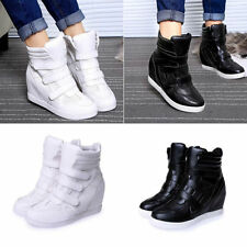 Womens Velcro High Top Hidden Wedge Sneakers Lace Up Casual Shoes Ankle Boots