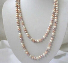 """Long 25"""" 36"""" 50"""" 65"""" 80"""" 7-8mm Natural Multicolor Akoya Cultured Pearl Necklace"""