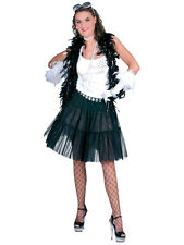 Sexy Ladies Tulle Petticoat Ruffles Layered Skirt Tutu Black Fancy Dress 1980s