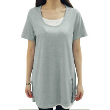 Woman Scoop Neck Short Sleeves Zipper Decor Detail Layered Tunic Top