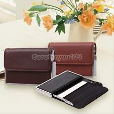 Waterproof Business ID Credit Card Wallet Holder Leather Steel Pocket Case Box