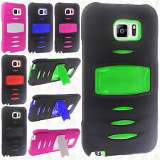 For Samsung Galaxy Note 5 IMPACT RUGGED Hard Rubber Kickstand Phone Cover