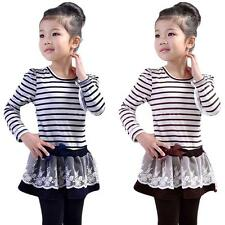 Girls Kids Lace Skirt One-Pieces Long Sleeve Bowknot Flower Stripes Dress 2-6Y