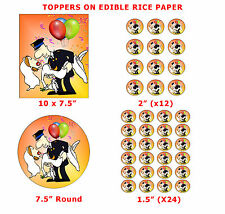 Funny Fireman Groom Carrying Bride Wedding Cake/Cup Cake Topper On Rice Paper
