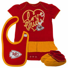 Kansas City Chiefs Infant Fan-Atic Creeper, Bib and Bootie Set - Red - NFL