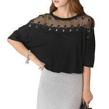 Women Round Neck Short Batwing Sleeves Crochet Tunic Shirt