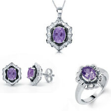 Divina Rhodium over Brass Amethyst Gemstone and Diamond Accent 3-piece Jewelry S